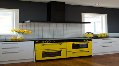 Beautiful Kitchen featuring a Yellow Belling Richmond Oven. cabinetry, countertop, cuisine classique, floor, hardwood, home, home appliance, interior design, kitchen, kitchen appliance, kitchen stove, room, yellow, gray, black