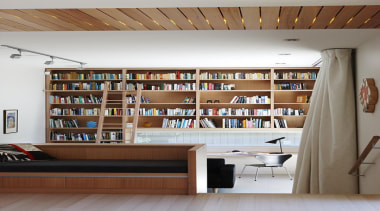 Parnell, Auckland - Nikau House - bookcase | bookcase, cabinetry, furniture, institution, interior design, library, library science, public library, shelf, shelving, brown, gray