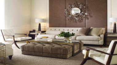 """""""Upholstery helps set the foundation for how a coffee table, couch, floor, furniture, home, interior design, living room, loveseat, room, sofa bed, table, gray, brown"""