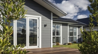 Linea Oblique Weatherboard - Linea Oblique Weatherboard - cottage, door, facade, home, house, orangery, porch, property, real estate, siding, window, gray, brown