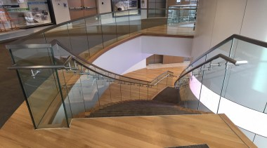 Glasshape - architecture   daylighting   floor   architecture, daylighting, floor, flooring, glass, handrail, stairs, gray, brown