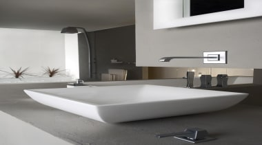 Gessi's Mimi brushed chrome collection includes a variety angle, bathroom, bathroom sink, bidet, ceramic, interior design, plumbing fixture, product design, sink, tap, gray