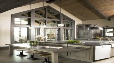 Statement Windows - When Country met Industrial - ceiling, countertop, interior design, kitchen, table, brown, gray, white