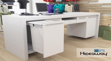 A 50L Hideaway Bin featured in a retail desk, drawer, furniture, office, product, product design, table, gray