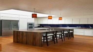 Karaka Bay Kitchen - Karaka Bay Kitchen - cabinetry, ceiling, countertop, floor, flooring, hardwood, interior design, kitchen, laminate flooring, loft, wood, wood flooring, brown, white