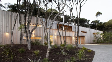 Mangawhai Heads, Northland - Point House - architecture architecture, facade, home, house, plant, real estate, residential area, tree, black, gray