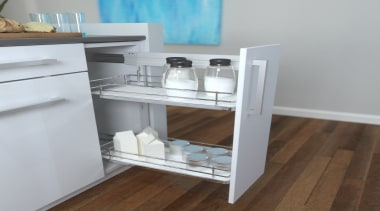 Giamo's Side Mounted Pull Out unit comes in drawer, furniture, shelf, shelving, table, gray