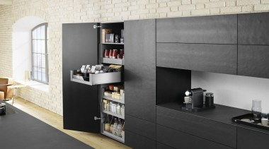 LEGRABOX pure - Box System - countertop | countertop, furniture, interior design, kitchen, product design, shelf, shelving, wall, black, gray, white