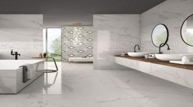Create sophisticated spaces with high resolution digitally printed bathroom, bathroom accessory, ceramic, floor, flooring, interior design, sink, tap, tile, wall, gray