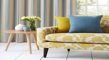 Harrisons Curtains - Harrisons Curtains - chair   chair, couch, cushion, furniture, home, interior design, living room, loveseat, pillow, slipcover, sofa bed, table, yellow, gray