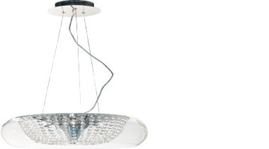 FeaturesThe Stellar is a contemporary styled pendant with ceiling fixture, light fixture, lighting, product, product design, white