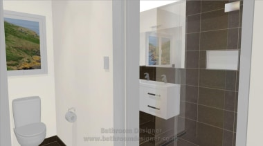 Bathroom Designer showing partially tiled walls in bathroom bathroom, bathroom accessory, bathroom cabinet, interior design, property, room, gray