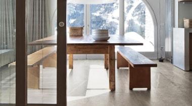 Blendstone pepper dining area floor tiles - Blendstone chair, coffee table, dining room, floor, flooring, furniture, interior design, product design, table, white, gray