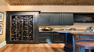 Modern Wine Cellar Ideas - Modern Wine Cellar cabinetry, countertop, interior design, kitchen, room, orange, black