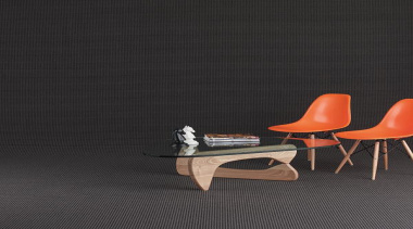 Featuring a contemporary dual-coloured mega dot pattern, Exemplar chair, chaise longue, floor, flooring, furniture, orange, outdoor furniture, product design, still life photography, table, wall, wood, black