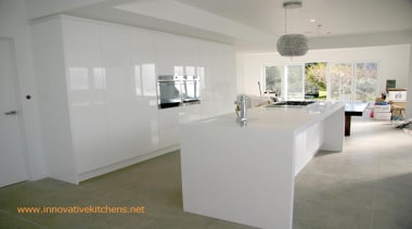 Corian benchtop in gloss white kitchen - Corian architecture, floor, flooring, furniture, home, interior design, property, real estate, table, gray