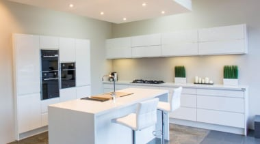 Beautiful white, clean, modern kitchen with Baumatic built-in cabinetry, countertop, cuisine classique, interior design, kitchen, property, real estate, room, gray, white