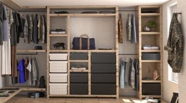 Tanova Ventilated Drawers in Wardrobe Setting - Classic cabinetry, closet, furniture, room, wardrobe, gray, black