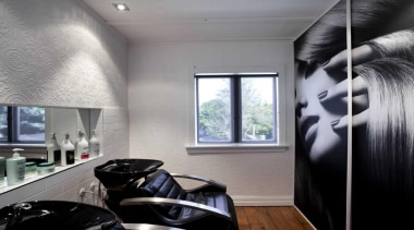 Salon interior design with black leather seats - interior design, room, window, gray, black