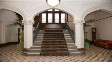 MERIT WINNERKnox College - Dunedin (4 of 4) arcade, arch, architecture, ceiling, column, estate, interior design, lobby, stairs, structure, gray, brown