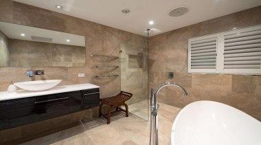 Winner Bathroom of the Year 2013 Hunter Region bathroom, ceiling, estate, floor, flooring, home, interior design, property, real estate, room, tile, wall, gray, brown