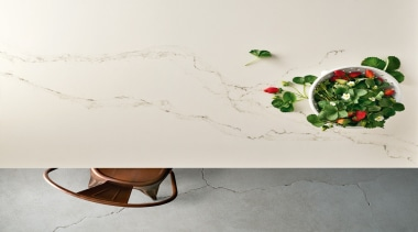 Caesarstone's interpretation of Statuario marble; Statuario Nuvo brings flowerpot, furniture, product design, still life photography, table, white