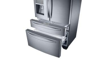 Refrigerator – French door – SRF679SWLSThe new Samsung home appliance, kitchen appliance, major appliance, product, product design, refrigerator, white, gray