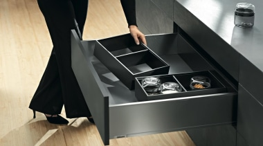 The new Legrabox drawer system from Blum boasts angle, desk, floor, furniture, product, sink, table, black
