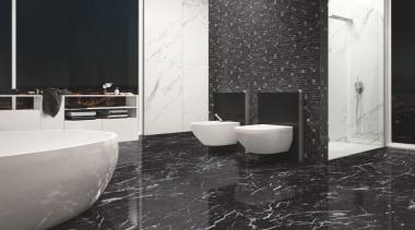 Marmoker Statuario - Marmoker Statuario - bathroom | bathroom, ceramic, floor, flooring, interior design, plumbing fixture, product design, room, tile, wall, black, white