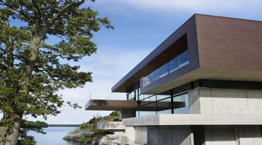 Skallan House - Dekton Kadum Façade 01 - architecture, building, condominium, facade, house, real estate, residential area, tree, teal