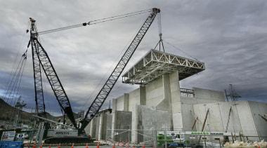 NOMINEEHVDC Pole 3 (1 of 4) - Warren bridge, building, construction, fixed link, sky, structure, gray