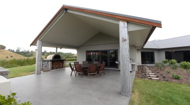 Fowler Homes Taranaki built this loggia with Trenz home, house, property, real estate, roof, gray, white