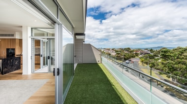 Balcony with view over Rangitoto - Balcony with apartment, architecture, condominium, daylighting, estate, home, house, property, real estate, window, white