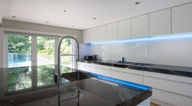 IMGL0241-16 - Dingle Road, LED lighting feature - architecture, countertop, daylighting, estate, glass, house, interior design, kitchen, property, real estate, room, window, gray