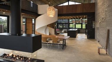 Vaughn Mcquarrie Architect floor, flooring, furniture, interior design, lobby, table, black