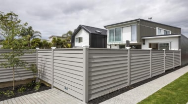 Simpler. Faster. Proven Weathertight. - A-lign Fencing - facade, fence, home, home fencing, house, property, real estate, siding, gray, white