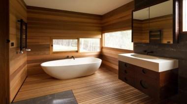 If you seek a perfect bathing experience, where architecture, bathroom, floor, flooring, hardwood, interior design, room, wood, wood flooring, brown