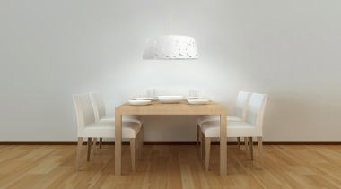 Trama White by La Creu, Spain - Pendant chair, dining room, floor, flooring, furniture, hardwood, interior design, light fixture, product design, room, table, wall, wood, wood flooring, gray, brown