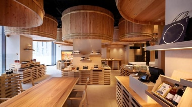 The Kayanoya Shop is a reproduction of a architecture, ceiling, interior design, wood, brown, orange