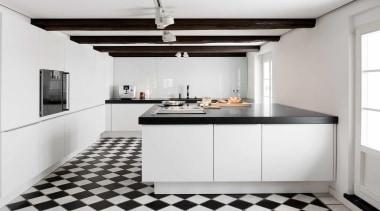 This village house was built around 1750, long countertop, cuisine classique, floor, interior design, kitchen, white