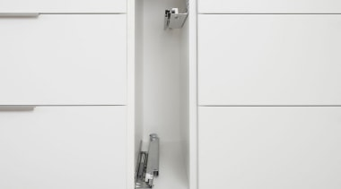 Blum's idea for narrow cabinets offers a simple bathroom accessory, hinge, product, tap, white