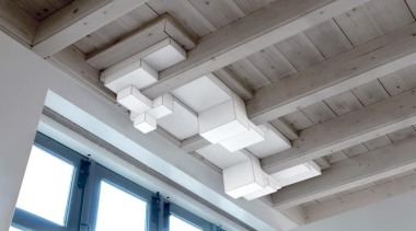 These clean-lined lampshades elegantly merge sculpture and illumination.What architecture, beam, ceiling, daylighting, daytime, light, line, roof, structure, window, gray