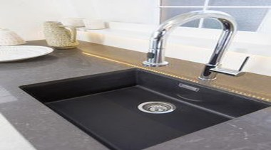 By Sally Steer Design, Wellington NZ. Caesarstone Piatra bathroom sink, countertop, floor, plumbing fixture, product design, sink, tap, white, black, gray