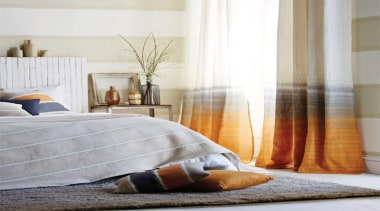 This dip dyed voile by Harlequin on these bed, bed frame, bed sheet, bedding, bedroom, curtain, duvet cover, floor, flooring, furniture, home, interior design, linens, living room, mattress, room, suite, textile, window, window covering, window treatment, wood, gray, white