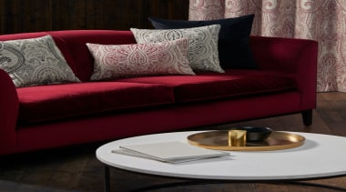 A Warwick Naturally range that radiates character and angle, coffee table, couch, floor, flooring, furniture, interior design, living room, loveseat, sofa bed, table, red, black