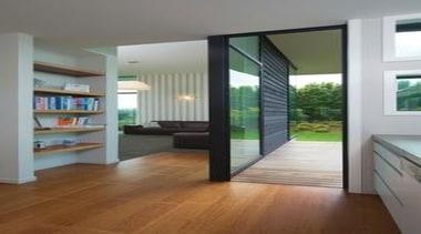 A design by Design House Architecture that focuses door, floor, flooring, hardwood, interior design, laminate flooring, real estate, window, wood, wood flooring, gray