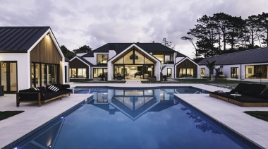 Bindon Design Group, AucklandSee the full story architecture, cottage, estate, home, house, property, real estate, reflection, residential area, swimming pool, villa, water, gray, blue