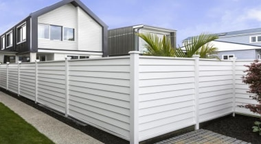 theblock2014109.jpg - theblock2014109.jpg - facade | fence | facade, fence, home, home fencing, house, outdoor structure, property, real estate, shed, siding, white, gray
