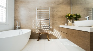 Highly Commended – Anna Klimova, Studio Urbo - bathroom, ceramic, floor, flooring, interior design, plumbing fixture, room, sink, tap, tile, wall, gray, white