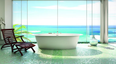 ora oval fs low.jpg - ora_oval_fs_low.jpg - bathroom bathroom, bathtub, interior design, plumbing fixture, sea, swimming pool, table, water, green, white